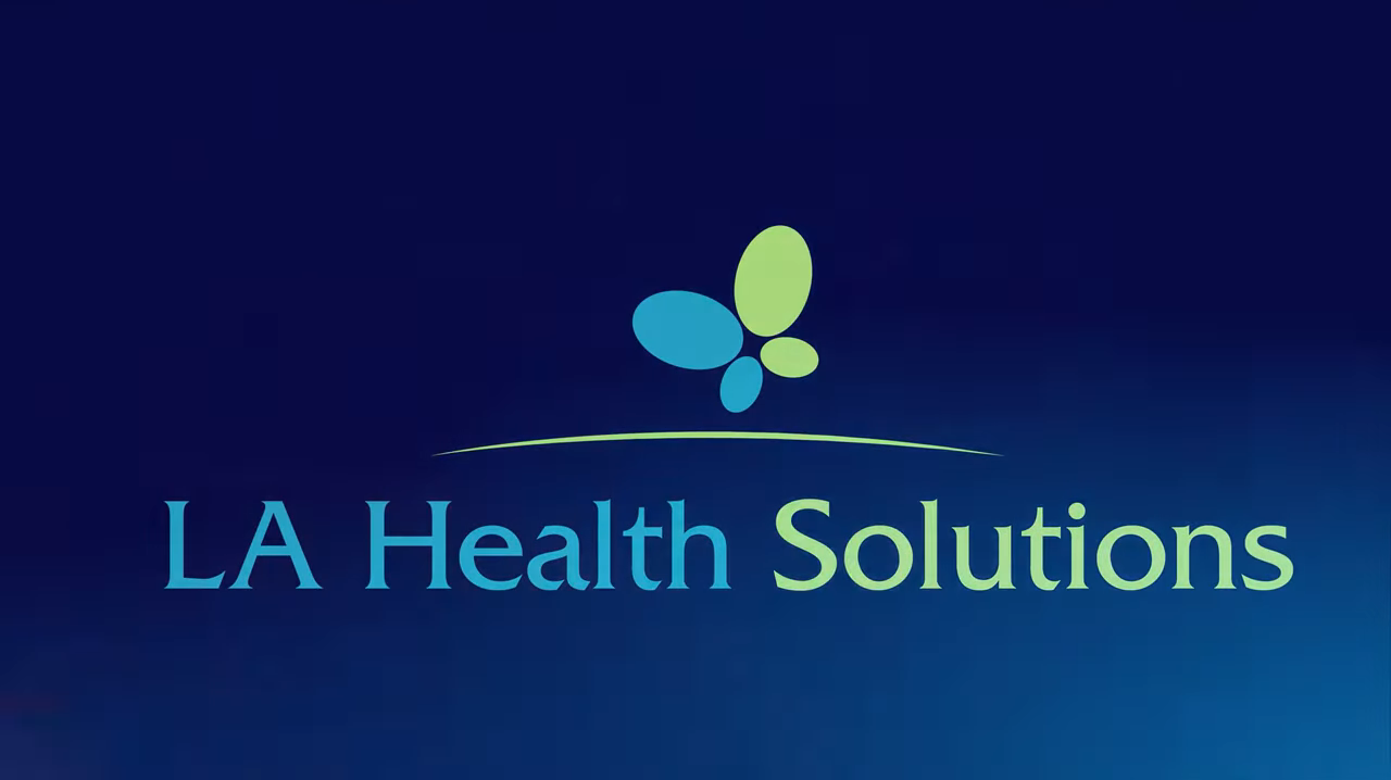 LA Health Solutions Blue Background Logo